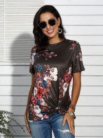 Fetching Brown Crew Neck Knot T-Shirt Floral Pattern For Women
