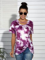 Modern Ladies Purple Dye Print Short Sleeves Shirt Twist