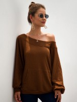 Splendid Brown Lantern Sleeve Pocket Front Shirt Fashion For Women