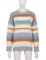 Relaxed Light Blue Round Neck Stripe Full Sleeve Knit Sweater Fashion