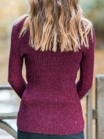 Simply Wine Red Full Sleeve Knit Sweater Solid Color New Fashion