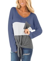 Nice Sweater Contrast Color Tie Long Sleeve Fashion Online
