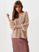 Conservative Light Tan Solid Color Sweater Side Slit Bishop Sleeve