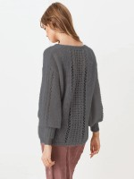 National Style Gray Bishop Sleeve Solid Color Sweater V Neck Comfort