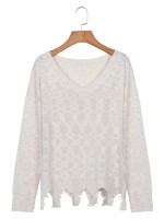 Sweet Fantasies White Wave Hem Sweater Solid Color Long Sleeve Smooth