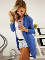 Simplicity Blue Knit Midi Length Cardigan Solid Color Newest Fashion