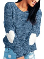 Gorgeous Dark Blue Sweater Round Neck Solid Color Leisure Wear