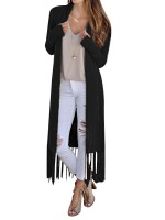 Enchanting Black Fringe Hem Longline Cardigan Long Sleeve Natural Fit