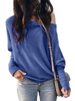 Detachable Blue Casual Drop Shoulder Waffle Top Kint Cheap Online