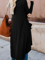 Subtle Black Long Sleeve Knit Cardigan Top Plain Splendid Look
