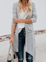 Ultimate Fashion Light Gray Solid Color Long Sleeve Open Front Top