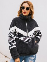 Exquisitely Gray Sweater Camouflage Print Zipper Pocket For Lounging