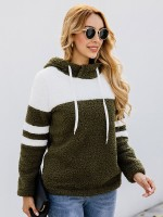 Endearing Army Green Hooded Neck Sweater Patchwork Full Sleeve