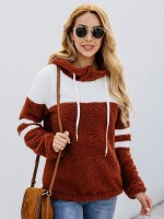 Form-Fitting Long Sleeve Loose Sweater Contrast Color Leisure Wear