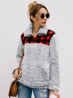 Perfectly Khaki Plaid Pattern Side Pocket Sweater Great Quality