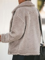 Lusty Gray Zipper Front Long Sleeve Plush Coat Elegance
