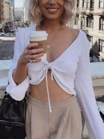Individualistic White V-Neck Drawstring Crop Sweater Ladies