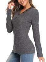 Ultra Sexy Long Sleeve V Neck Knit Sweater Vacation Time
