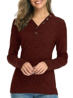Royal Wine Red V-Neck Button Design Knit Sweater Casual Clothing