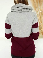 Unique Red Colorblock Drawstring Hoodie Top Great Quality