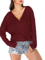 Bewildering Red Open Back Sweater Long Sleeve V-Neck Weekend Time