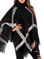 Lovable Black Irregular Plaid High Neck Sweater Elasticity