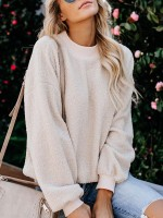 Excellent Apricot Solid Color Sweater Bishop Sleeve Lady Fashion