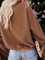 Cheeky Khaki Round Collar Sweater Long Sleeve Loose Fit