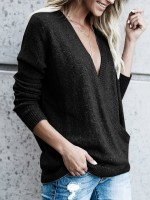 Picturesque Black Cross V-Neck Sweater Long Sleeve On-Trend Fashion