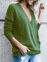 Homely Green Rib Sweater Plunge Collar Baggy Fashion Online