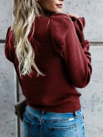 Naughty Wine Red Sweater Solid Color Round Collar For Work