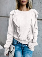 Captivating White Ruffle Trim Long Sleeve Sweater Understated Design