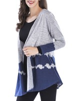 Mysterious Blue Gradient Open Front Knit Cardigan Latest Fashion