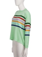 Striking Blue Long Sleeve Patchwork Stripe Sweater Pullover