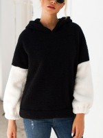 Inspired Black Hooded Sweater Patchwork Full Sleeve Lady Clothing