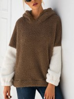 Leisure Khaki Sweater Hooded Neck Contrast Color Women's Tops