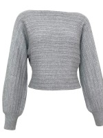 Scintillating Gray Sweater One Shoulder Solid Color Sensual Curves