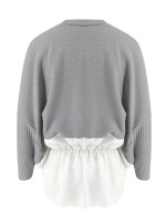 Abstract Gray Sweater Patchwork Crew Neck Ruched Stretchy