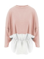Delightful Pink Round Collar Sweater Ruffle Hem Women Outfits