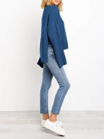 Delightful Blue Flared Sleeve Solid Color Sweater High Quality