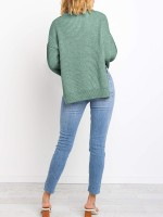 Effective Green Crew Neck Side Slit Knit Sweater Womens Apparel