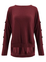 Exotic Paradise Wine Red Button Sweater Knit Round Collar Fashion Style