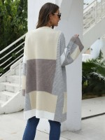 Charming Gray Knit Cardigan Mid-Length Patchwork Form Fitting