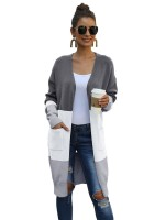 Glossy Gray Open Front Long Sleeve Cardigan Elasticity