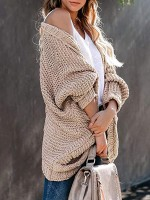 Ravishing Khaki Solid Color Cardigan Long Sleeve For Hanging Out
