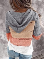 Outstanding Gray Knit Hooded Neck Color Block Sweater Ladies Fashion