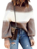 Glorious Light Tan High Neck Color Block Pullover Sweater Comfort