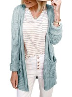 Flattering Green Open-Front Plain Cardigan With Pockets Soft-Touch