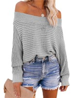 Wonderful Gray Off-Shoulder Sweater Batwing Sleeves Form Fitting