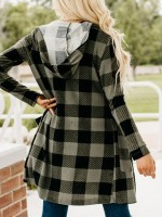 Special Green Plaid Side Pocket Hoodie Full Sleeve Top Natural Fit